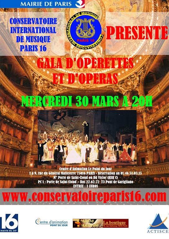 Conservatoire International de Musique PARIS 16 - Gala d'Opérettes et d'Opéras du 30 mars 2011